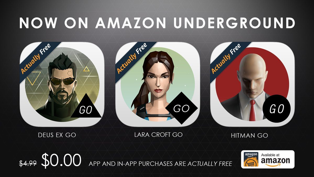 Lara Croft GO, Hitman GO and Deus EX GO are now free on Amazon Underground
