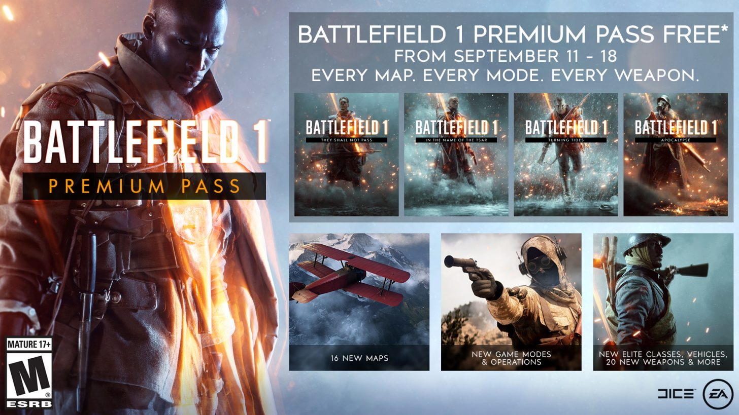 Free Premium Passes for Battlefield 1 and 4