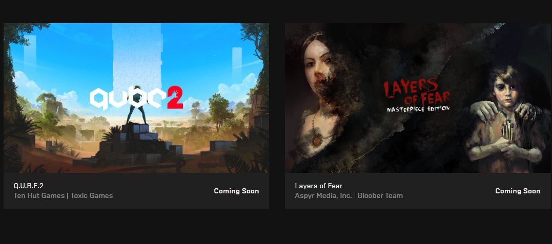 Get Layers of Fear and Q.U.B.E. 2 for free at Epic Games Store