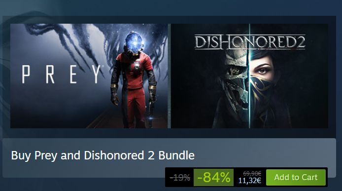 Steam: Prey and Dishonored 2 Bundle