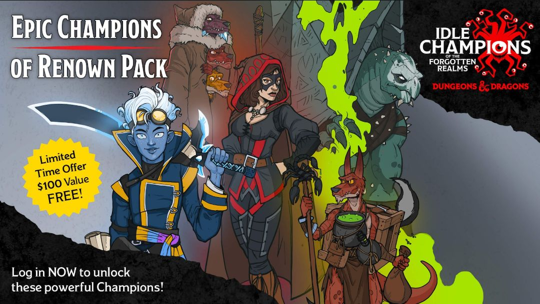 Idle Champions of the Forgotten Realms DLC is FREE on Epic Games Store